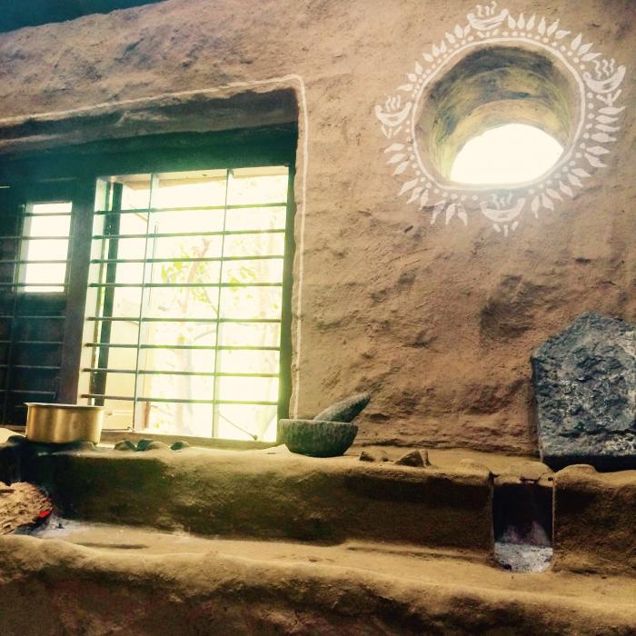 Our Earthen Hearth Kitchen with traditional STONE Grinders